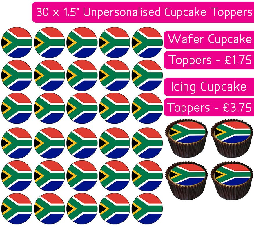 South Africa Flag - 30 Cupcake Toppers