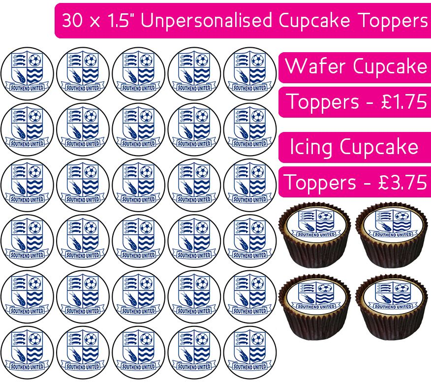 Southend United Football - 30 Cupcake Toppers