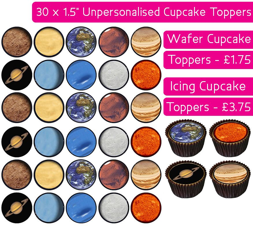 Space Planets - 30 Cupcake Toppers