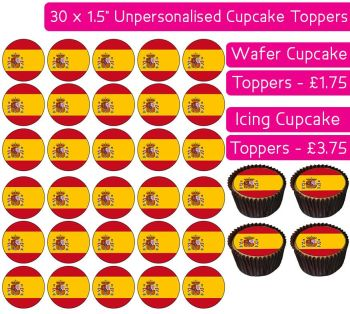 Spain Flag - 30 Cupcake Toppers