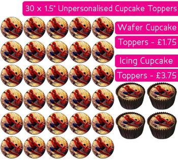 Spiderman - 30 Cupcake Toppers