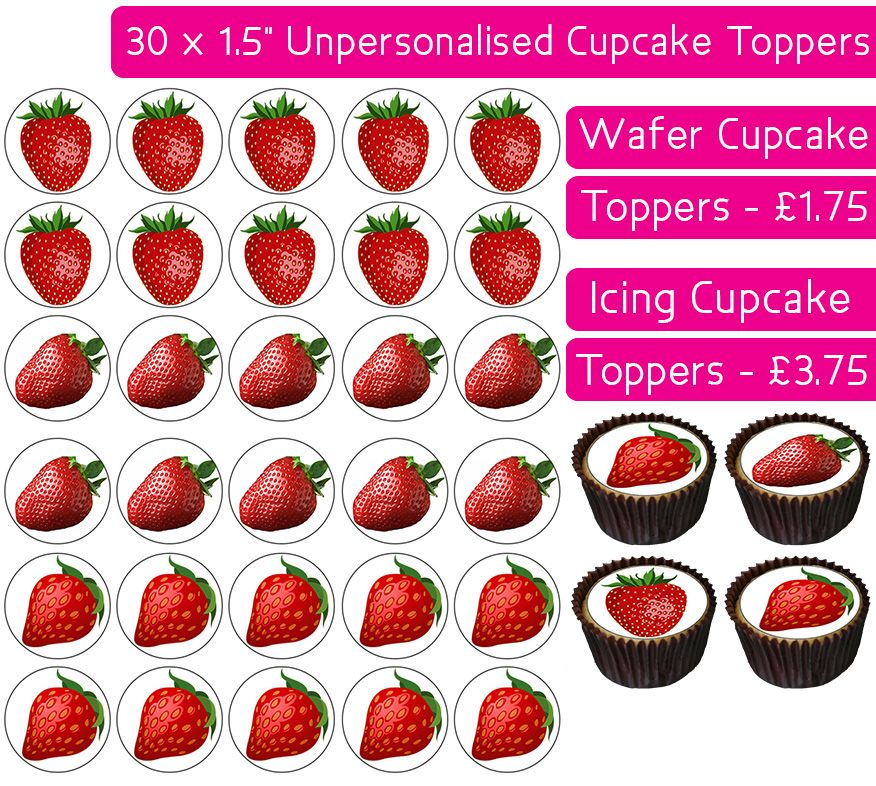 Strawberries - 30 Cupcake Toppers
