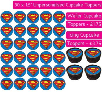 Superman - 30 Cupcake Toppers