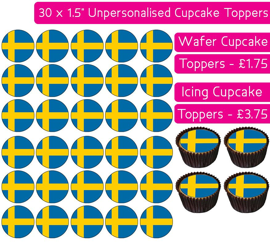 Sweden Flag - 30 Cupcake Toppers