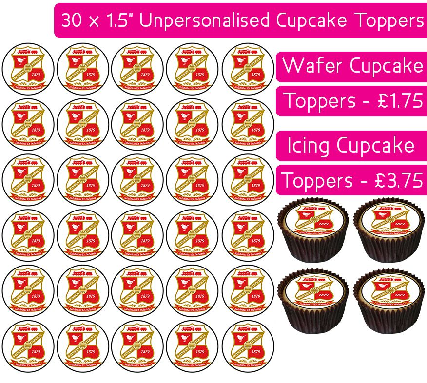 Swindon Town Football - 30 Cupcake Toppers