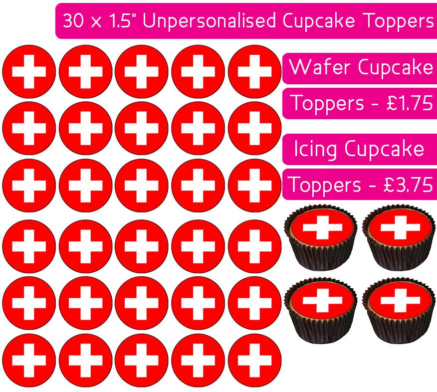 Switzerland Flag - 30 Cupcake Toppers