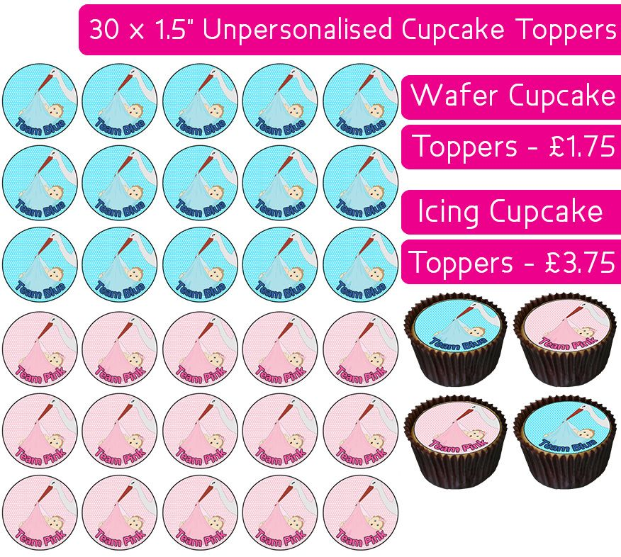 Team Blue/Pink Stork - 30 Cupcake Toppers