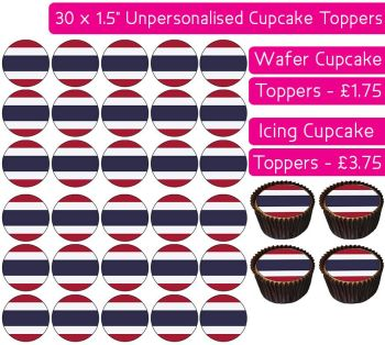 Thailand Flag - 30 Cupcake Toppers