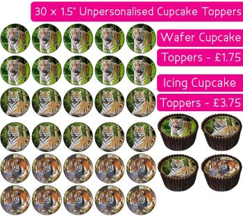 Tiger - 30 Cupcake Toppers