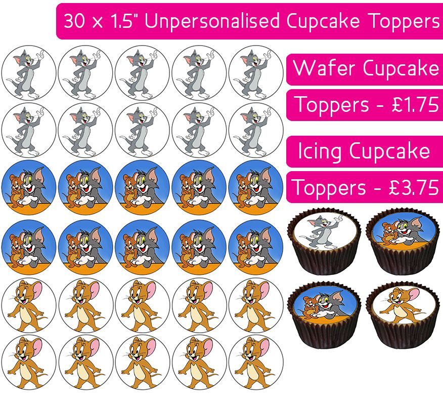 Tom & Jerry - 30 Cupcake Toppers