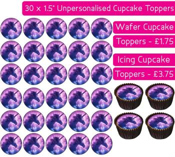 Unicorn Space - 30 Cupcake Toppers