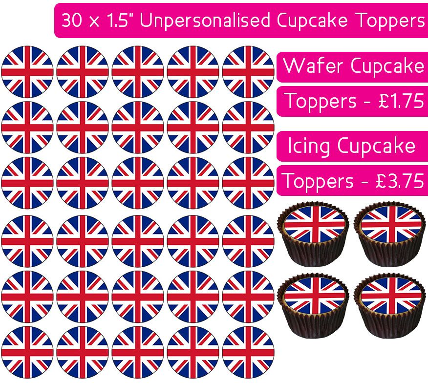 Union Jack - 30 Cupcake Toppers