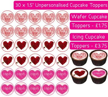 Valentines - 30 Cupcake Toppers