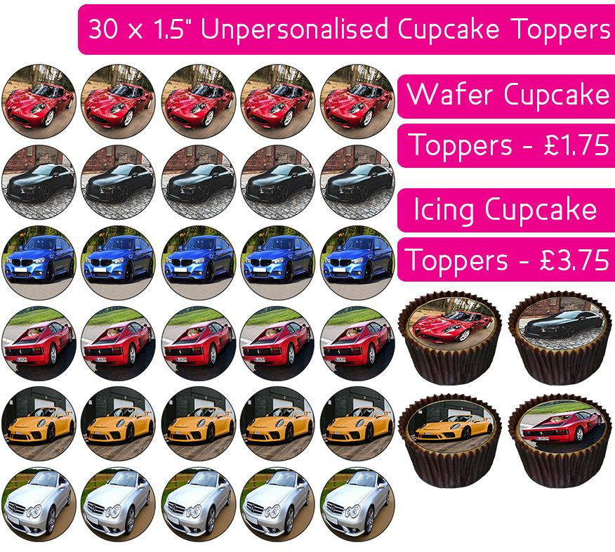 Vehicles - Cars - 30 Cupcake Toppers