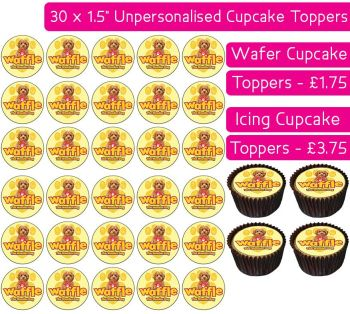 Waffle The Wonder Dog - 30 Cupcake Toppers