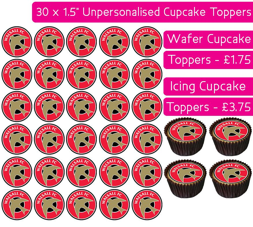 Walsall Football - 30 Cupcake Toppers