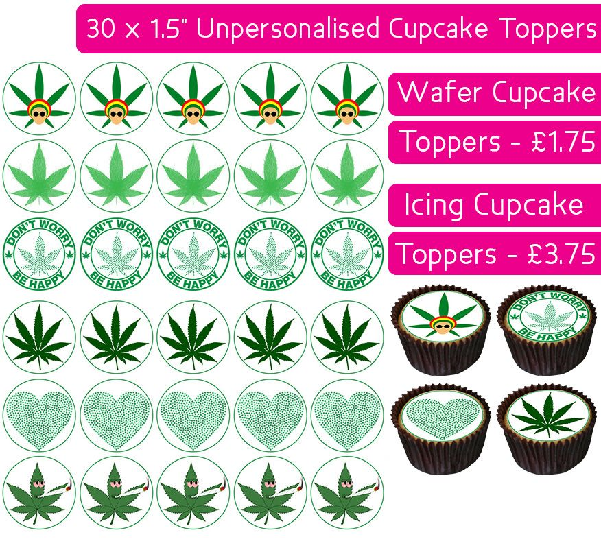 Weed - 30 Cupcake Toppers