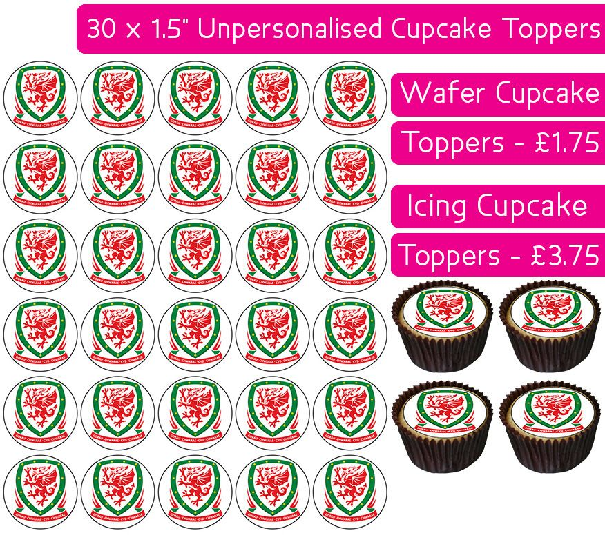 Welsh Football - 30 Cupcake Toppers