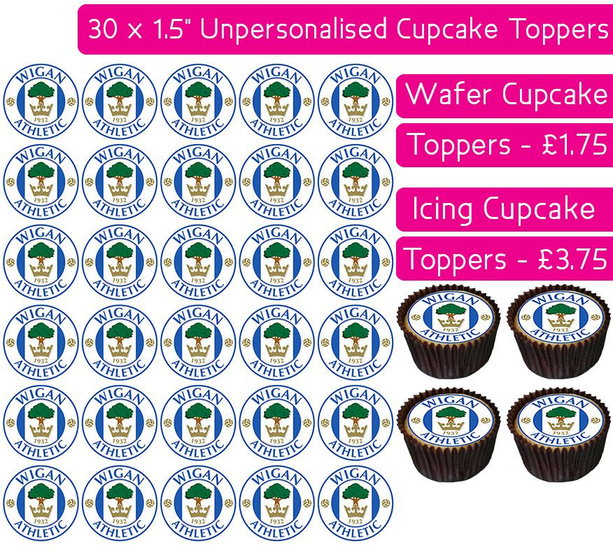 Wigan Athletic Football - 30 Cupcake Toppers