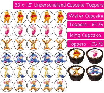 Winnie The Pooh - 30 Cupcake Toppers