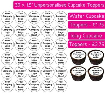 Your Own Company Logo  - 30 Cupcake Toppers