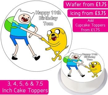 Adventure Time Finn & Jake Plain Personalised Cake Topper