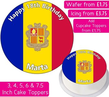 Andorra Flag Personalised Cake Topper