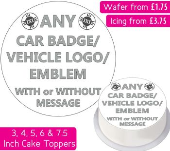 Any Car Badge/Logo/Emblem Personalised Cake Topper
