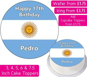 Argentina Flag Personalised Cake Topper