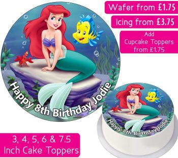 Ariel Mermaid Personalised Cake Topper