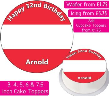 Austria Flag Personalised Cake Topper