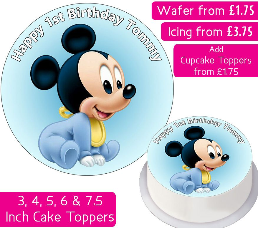 Baby Mickey Personalised Cake Topper
