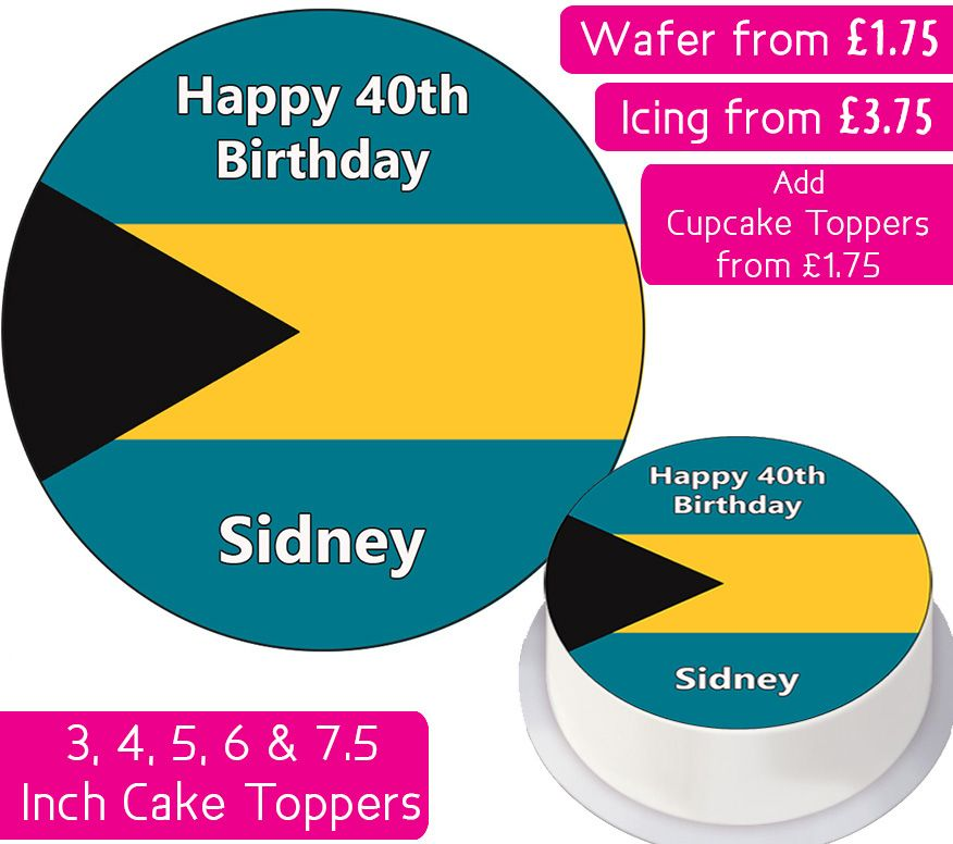 Bahamas Flag Personalised Cake Topper