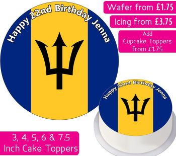 Barbados Flag Personalised Cake Topper