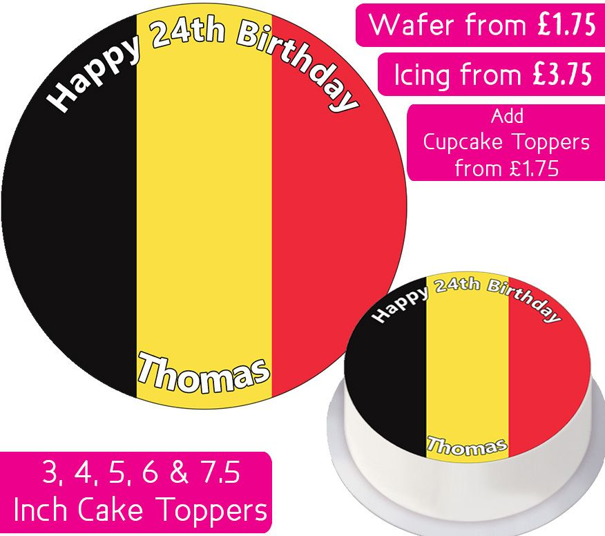 Belgium Flag Personalised Cake Topper