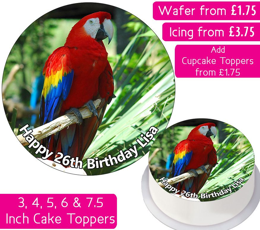 Bird Macaw Personalised Cake Topper
