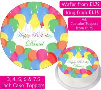 Birthday Balloons Personalised Cake Topper