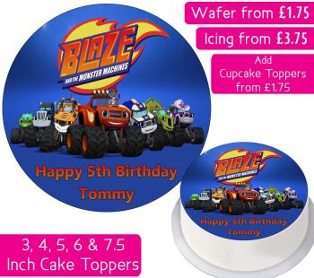Blaze And The Monster Machines Gang Personalised Cake Topper