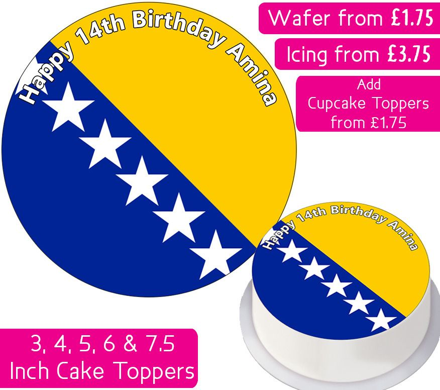 Bosnia & Herzegovina Flag Personalised Cake Topper