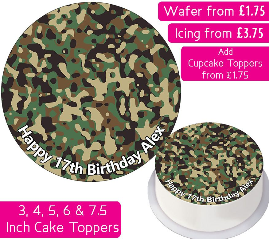 Camouflage Print Personalised Cake Topper