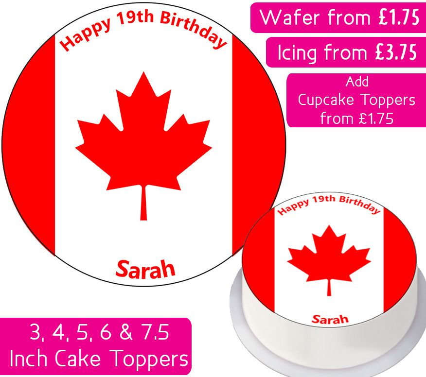 Canada Flag Personalised Cake Topper