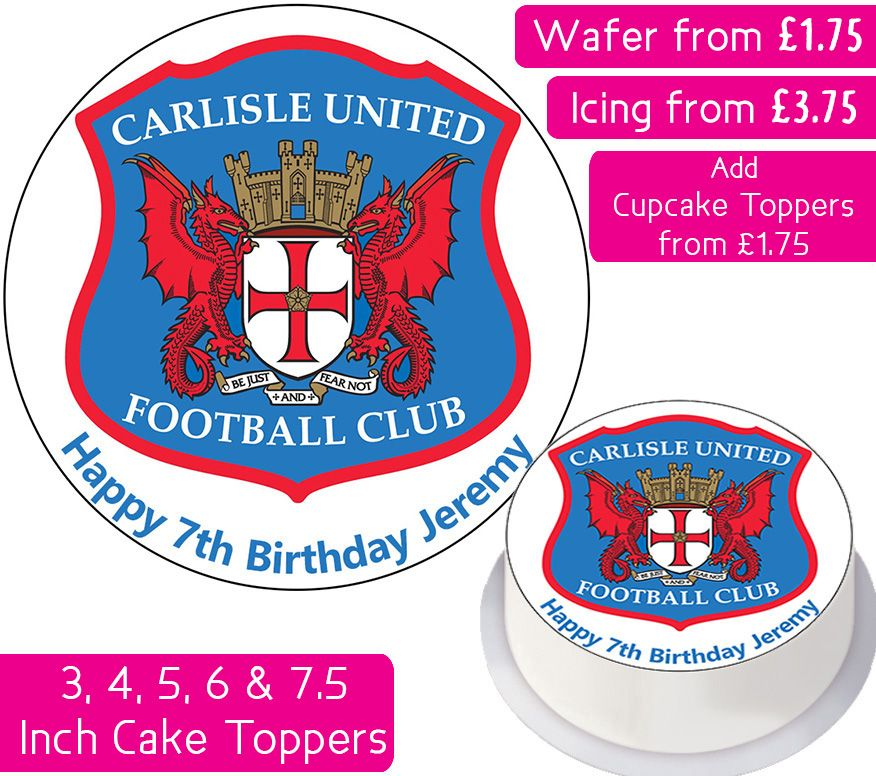 Carlisle United Football Personalised Cake Topper