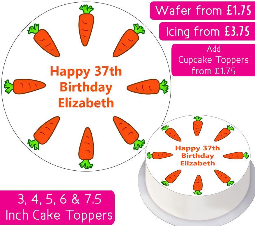 Carrot Cake Personalised Cake Topper