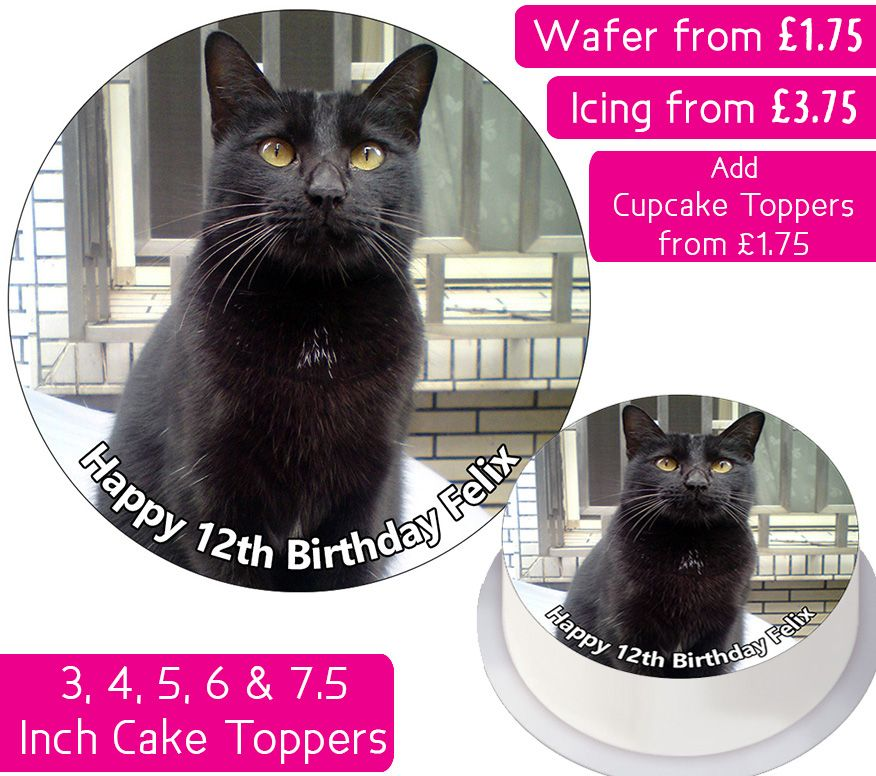 Cat Black Personalised Cake Topper