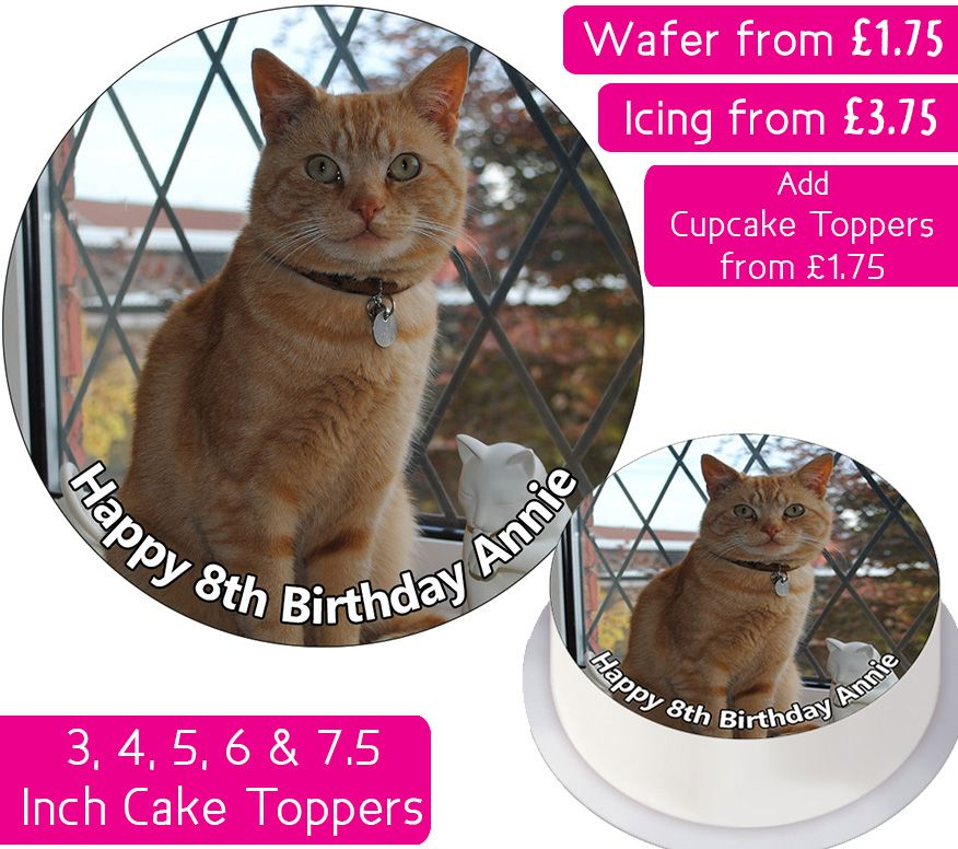 Cat Ginger Personalised Cake Topper