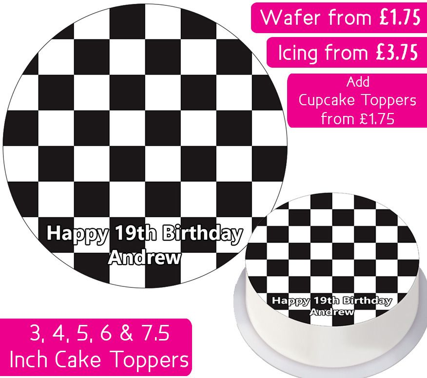 Checkered Pattern Personalised Cake Topper