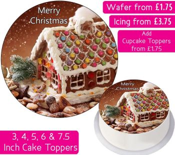 Christmas Gingerbread House Personalised Cake Topper