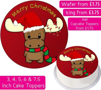 Christmas Reindeer Personalised Cake Topper