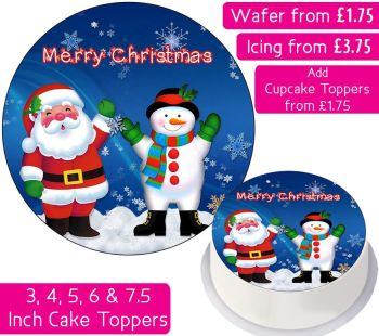 Christmas Santa Snowman Personalised Cake Topper