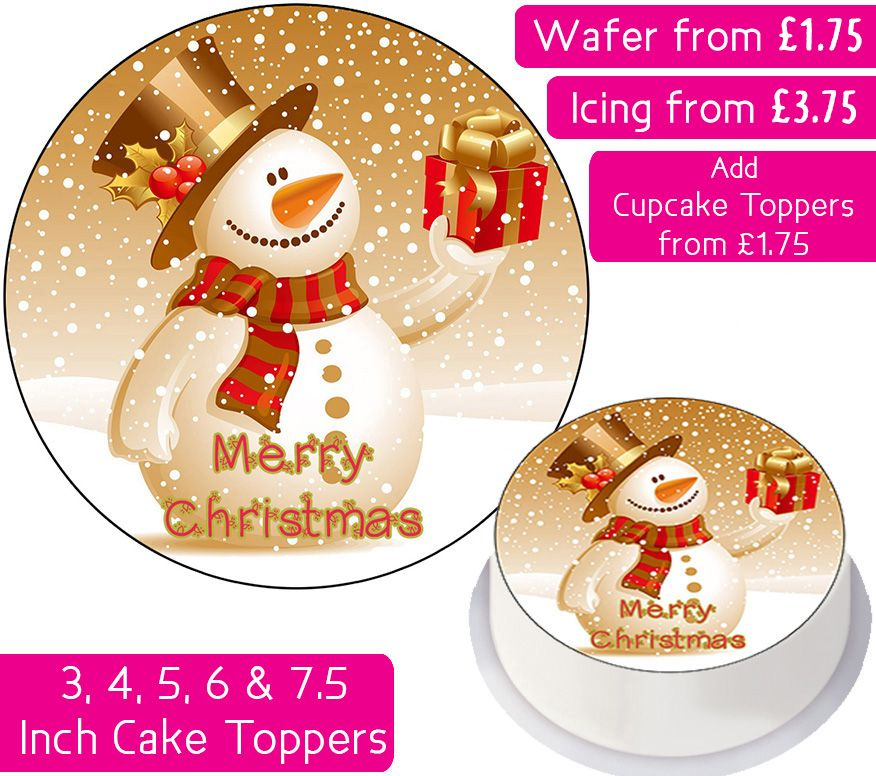 Christmas Snowman Personalised Cake Topper